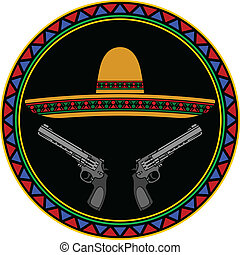 sombrero and two pistols. second variant. vector...
