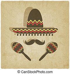 sombrero, antigas, fundo, mexicano