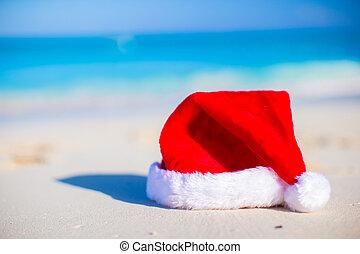 sombrero, arriba, santa, cierre, playa blanca, arenoso