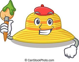 sombrero, artístico, diseño, pincel, artista, mascota, verano, utilizar