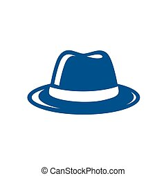 sombrero azul, fedora, ilustración