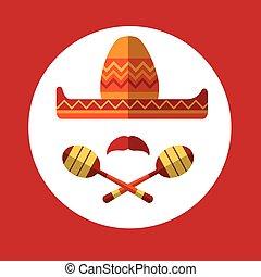 sombrero, baffi, messicano, tradizionale, cappello, maraca