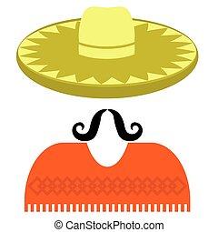 sombrero, bigote