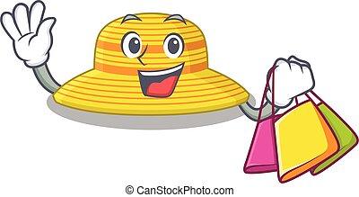sombrero, bolsas, verano, carácter, compras, rico, caricatura