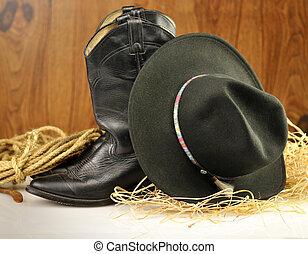 sombrero, botas, vaquero