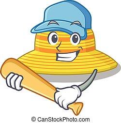 sombrero, carácter, caricatura, beisball, atractivo, juego, verano