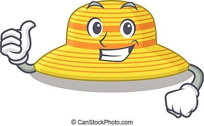sombrero, carácter, caricatura, diseño, aprobar, dedo, verano, actuación