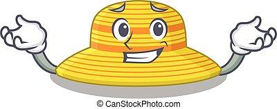 sombrero, carácter, caricatura, el hacer muecas, lindo, imagen, verano