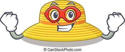 sombrero, carácter, caricatura, super héroe, verano, dibujo