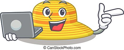 sombrero, carácter, hogar, caricatura, estudiar, computador portatil, elegante, verano