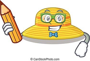 sombrero, carácter, hogar, caricatura, listo, estudio, verano, estudiante