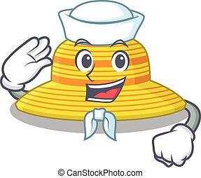 sombrero, carácter, smiley, marinero, caricatura, corbata, verano, blanco, llevando