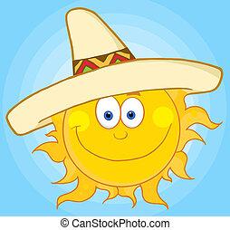 sombrero, chodząc, słońce