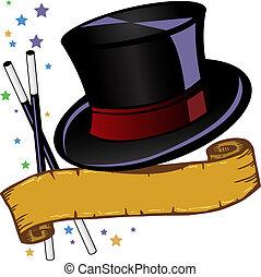 sombrero, cima, b, magia, tema