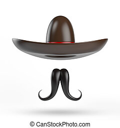 sombrero, con, bigote