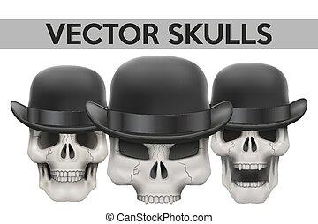 sombrero, conjunto, jugador de bolos, cráneos, humano