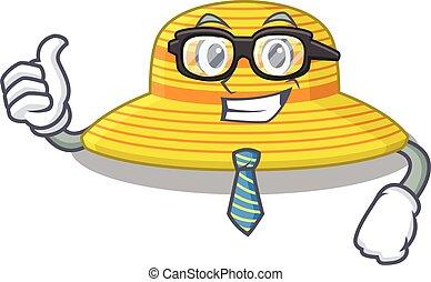 sombrero, corbata, caricatura, anteojos, hombre de negocios, verano, llevando, dibujo