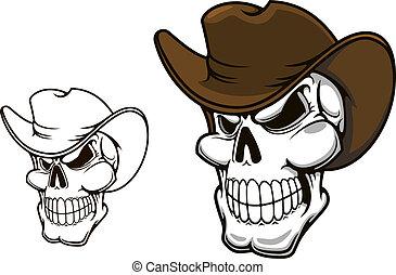 sombrero, cráneo, vaquero