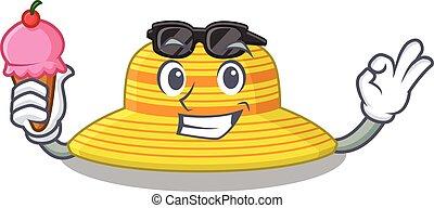 sombrero, crema, verano, hielo, cono, dibujo, tenencia, caricatura