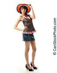 sombrero, dama, colorido