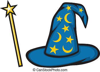 sombrero, de, el, mago, y, magia, palo