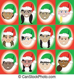 sombrero de navidad, niño, caras