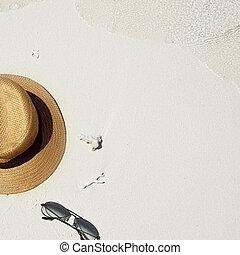 sombrero de paja, gafas sol, en, un, playa tropical