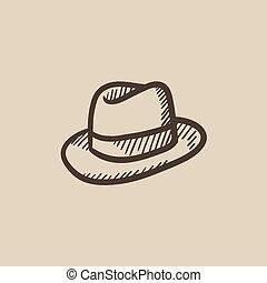 sombrero de sombrero de fieltro, bosquejo, icon.