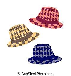 sombrero de sombrero de fieltro, icono