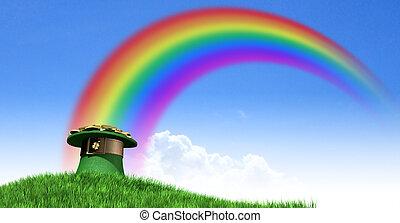 sombrero del leprechaun, con, oro, en, un, herboso, colina