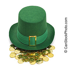 sombrero del leprechaun, oro