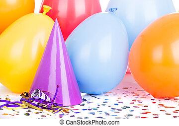 sombrero del partido, globos