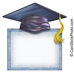 sombrero, diploma, graduación, blanco