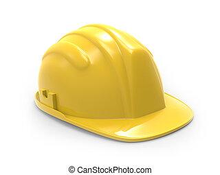 sombrero duro, amarillo, ilustración, 3d