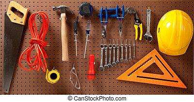 sombrero, duro, herramientas, tabla, clavija