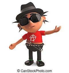 sombrero, eje de balancín del punk, elegante, sombrero flexible, ilustración, llevando, 3d