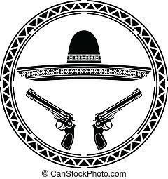sombrero, estêncil, mexicano