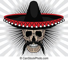 sombrero, estilo, mexicano, bigode, cranio