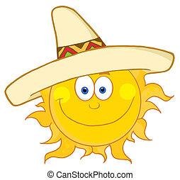 sombrero, feliz, desgastar, sol