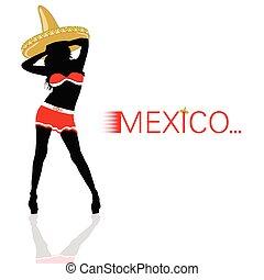sombrero, flicka, vektor, silhuett, röd
