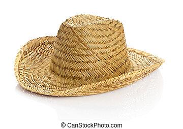 sombrero, freigestellt, weiß, hintergrund., strohhut