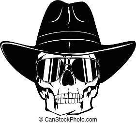 sombrero, gafas de sol, vaquero, var, cráneo, 1