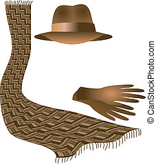 sombrero, guantes, bufanda