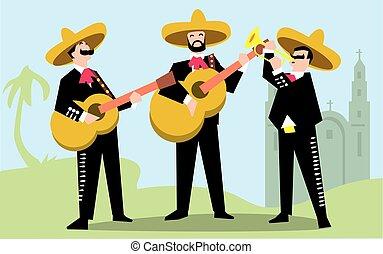 sombrero, guitar., mariachi, bande