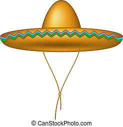 Sombrero hat in brown design on white background