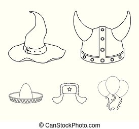 Sombrero, hat with ear-flaps, helmet of the viking.Hats set collection icons in outline style vector symbol stock illustration web.