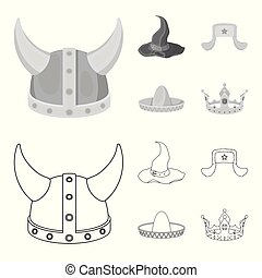 Sombrero, hat with ear-flaps, helmet of the viking.Hats set collection icons in outline,monochrome style vector symbol stock illustration web.