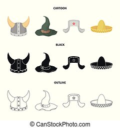 Sombrero, hat with ear-flaps, helmet of the viking.Hats set collection icons in cartoon,black,outline style vector symbol stock illustration web.