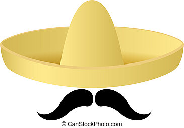 Sombrero hat with handlebar moustache. Vector - Cartoon...