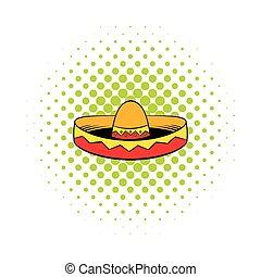 Sombrero icon in comics style